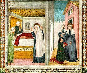 Sainte Françoise de Rome, né en 1384, connue aussi sous le nom de Françoise-Romaine.